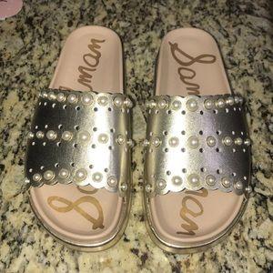 Sam Edelman Pearly Metallic Slide Sandal Size 8